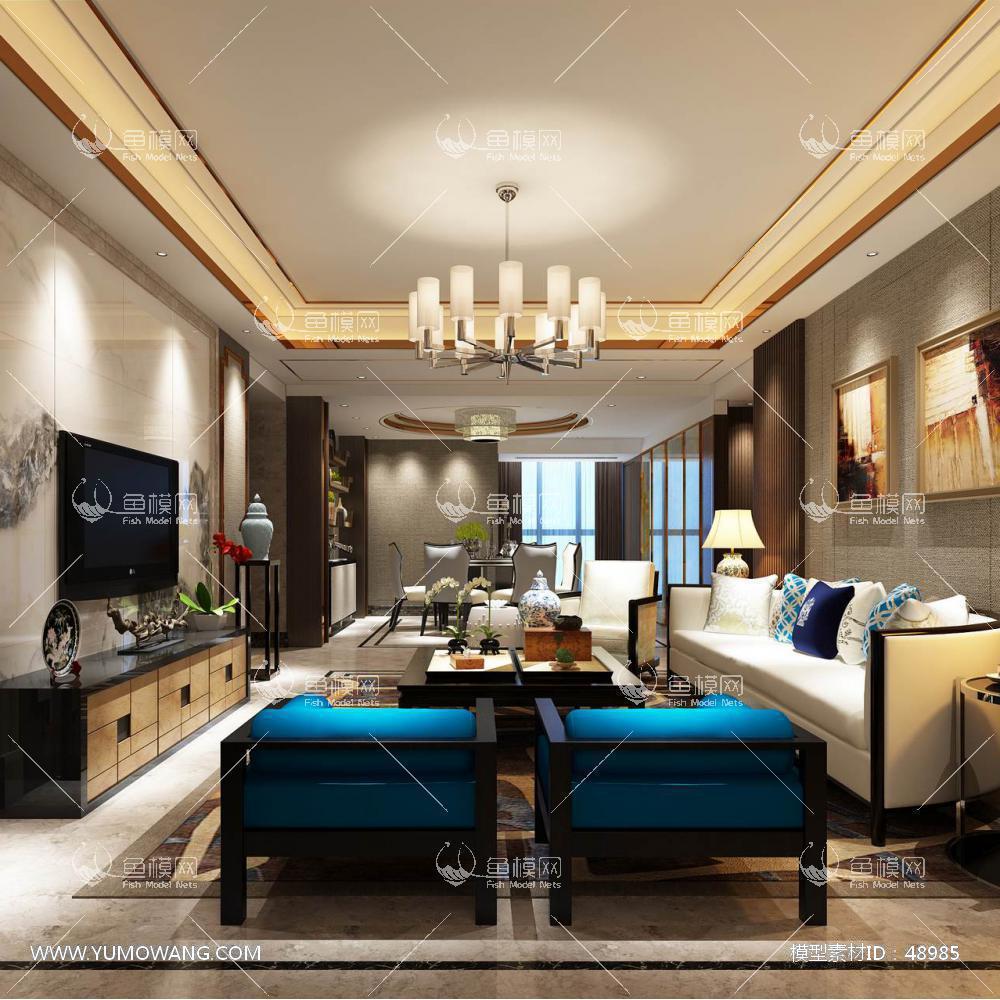 中式风格整体家装客厅空间3D模型下载-[ID]48985