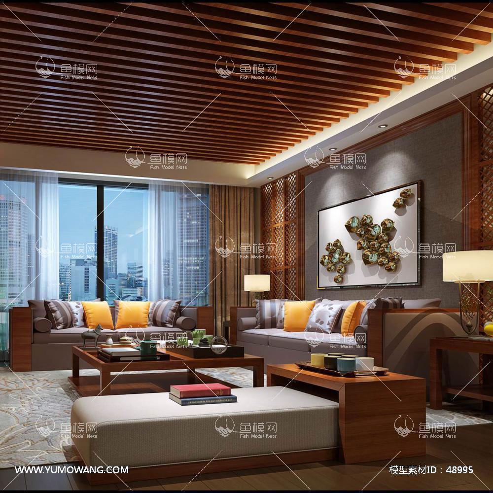 新中式风格整体家装客厅空间3D模型下载-[ID]48995