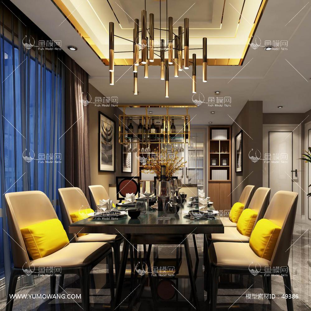 现代风格整体家装餐厅空间3D模型下载-[ID]49386