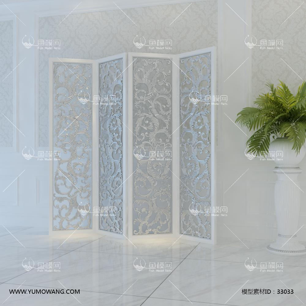 宫廷一号欧式雕花屏风3D模型下载-[ID]33033