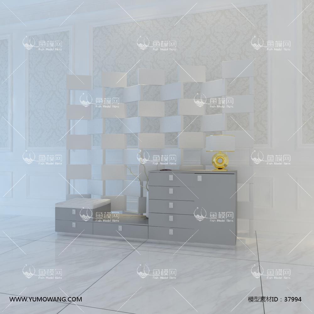 屏风隔断玄关柜3D模型下载-[ID]37994