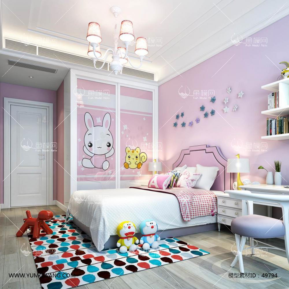 现代风格整体家装卧室空间儿童房3D模型下载-[ID]49794