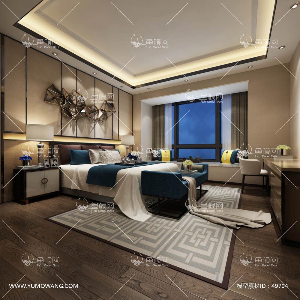 现代风格整体家装卧室空间主卧室3D模型下载-[ID]49704
