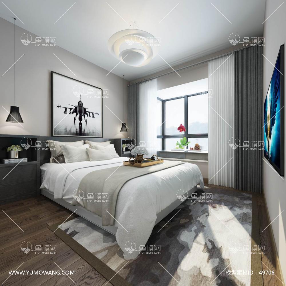现代风格整体家装主卧室3D模型下载-[ID]49706