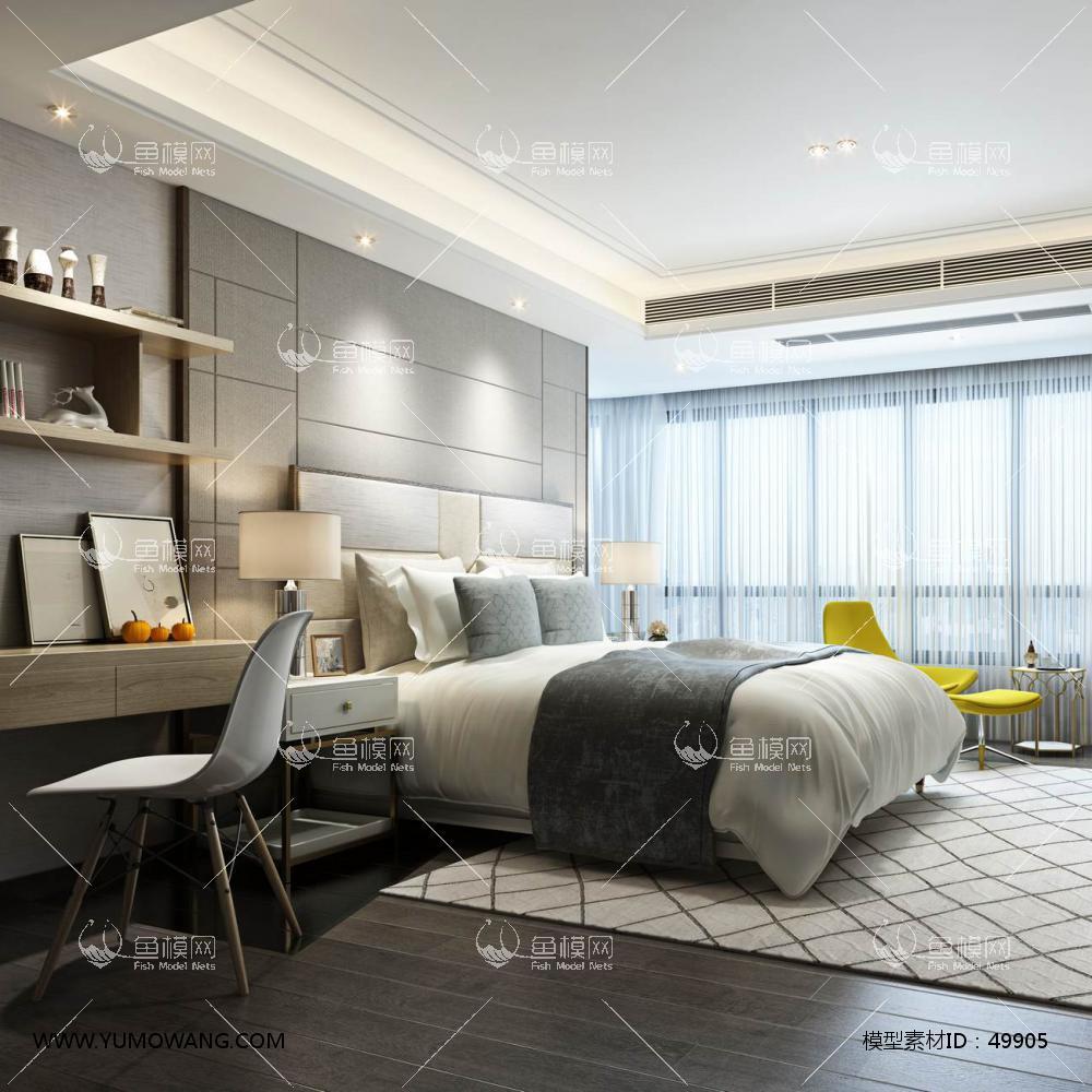 现代风格整体家装卧室空间主卧室3D模型下载-[ID]49905