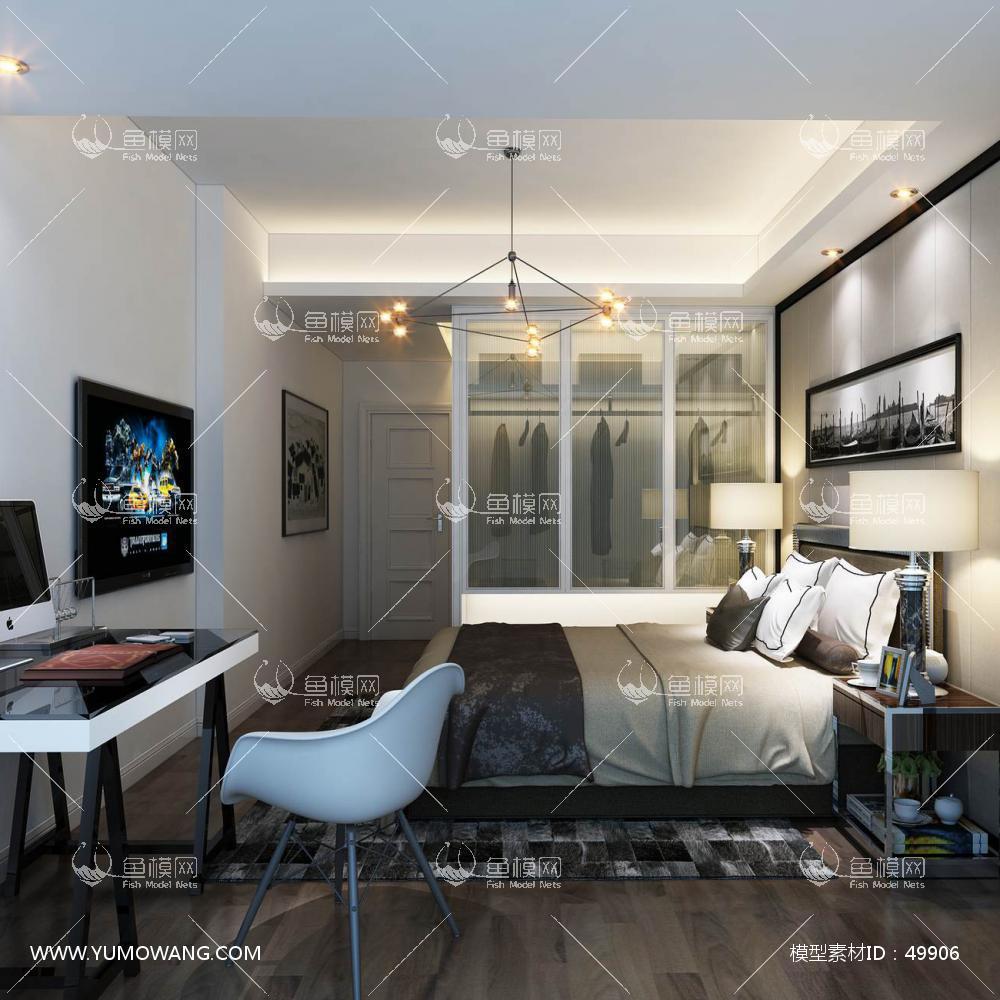 现代风格整体家装卧室空间主卧室3D模型下载-[ID]49906