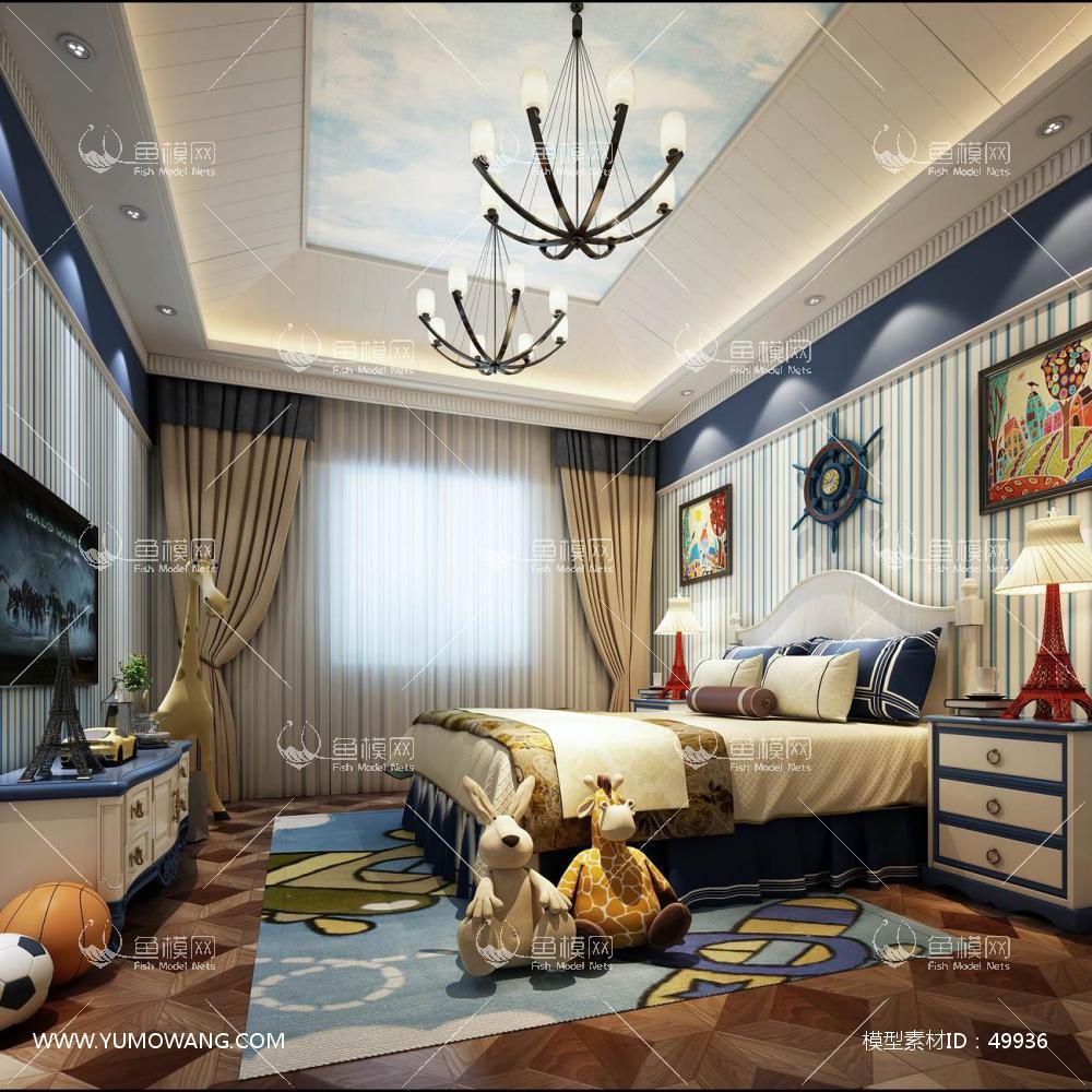 欧式风格整体家装卧室空间儿童房3D模型下载-[ID]49936