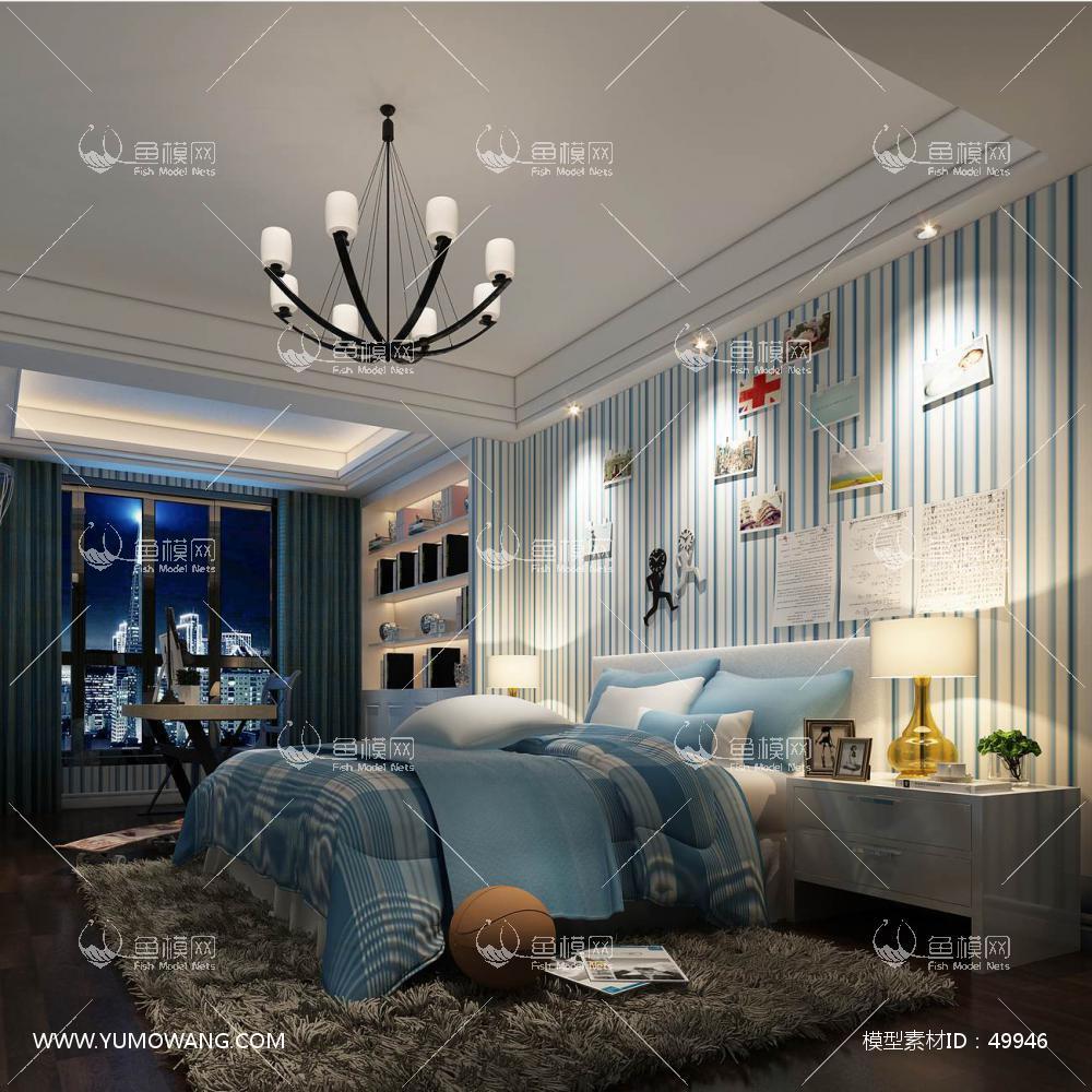 欧式风格整体家装卧室空间儿童房3D模型下载-[ID]49946