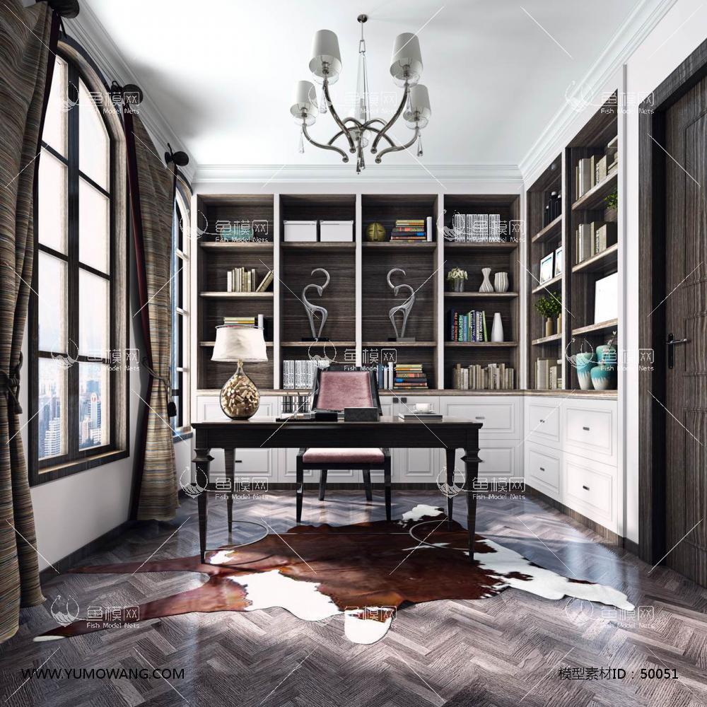 欧式风格整体家装书房空间3D模型下载-[ID]50051