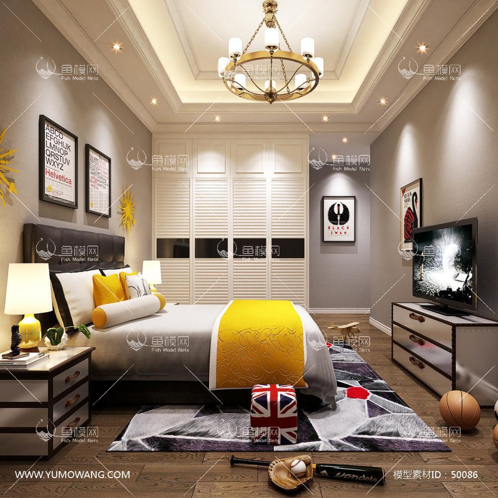 轻奢风格整体家装卧室空间儿童房3D模型下载-[ID]50086