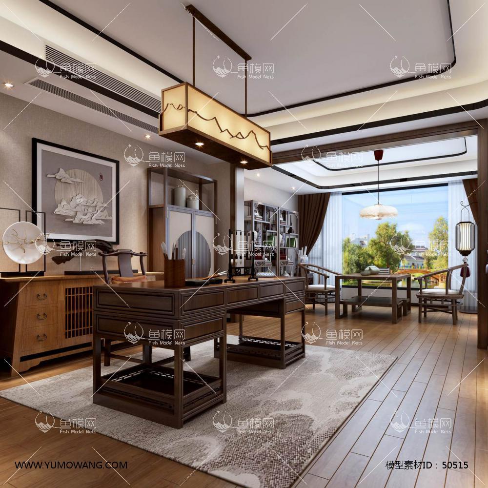 新中式风格整体家装书房空间3D模型下载-[ID]50515