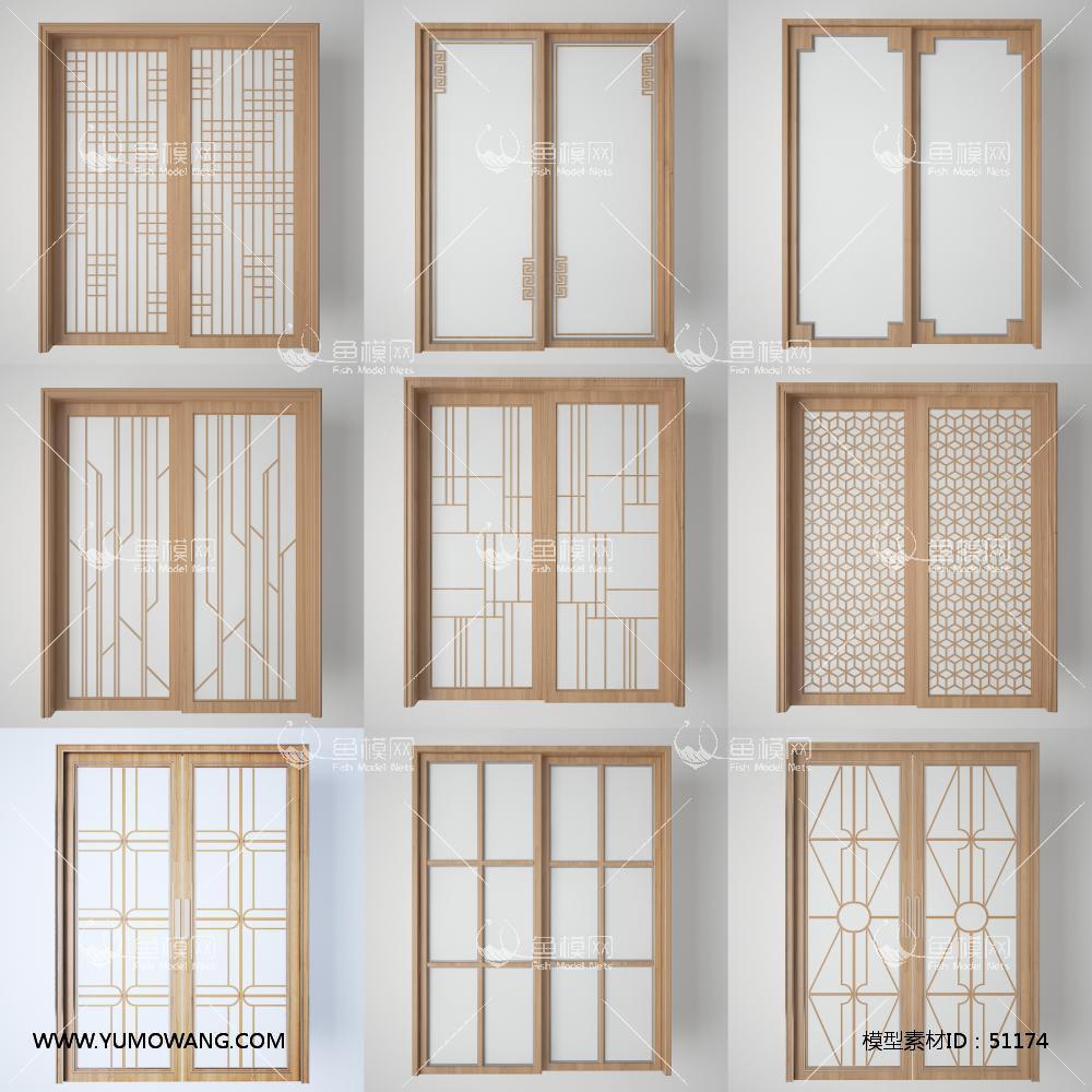 3D厨房阳台玻璃门组合3D模型下载-[ID]51174