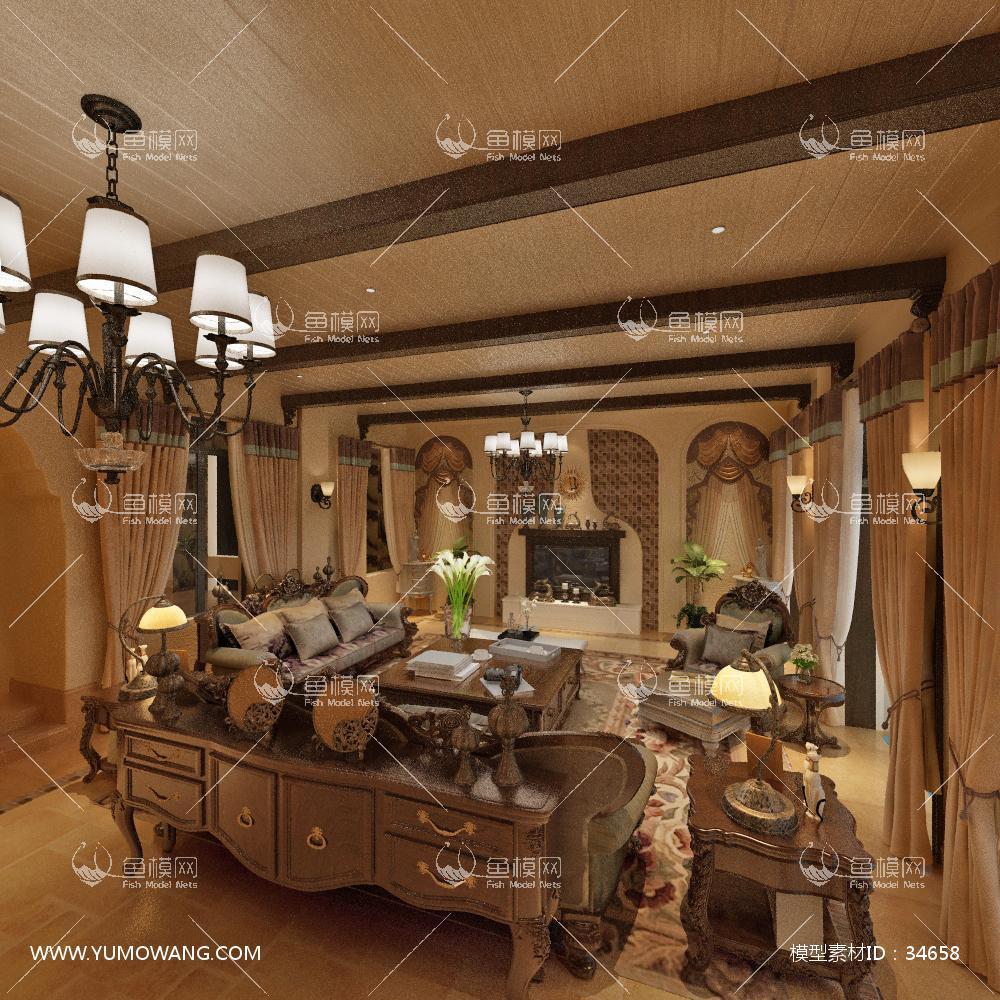 美式风格客厅 (18)3D模型下载-[ID]34658
