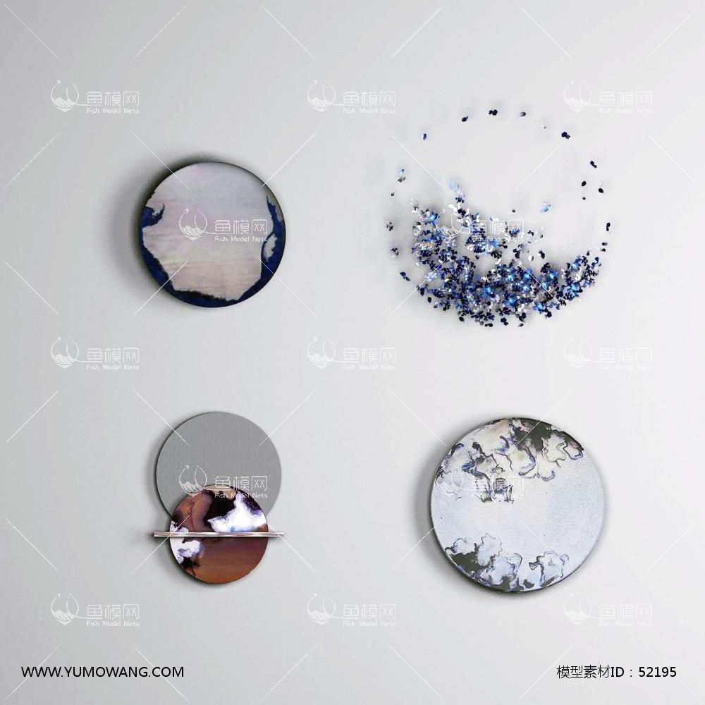 现代圆形立体装饰画3D模型下载-[ID]52195