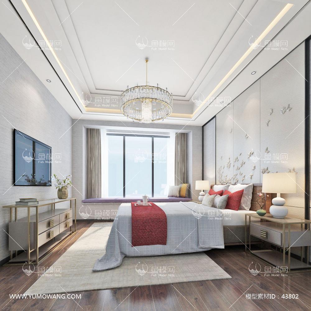 现代整体家装主卧室3D模型下载-[ID]43802