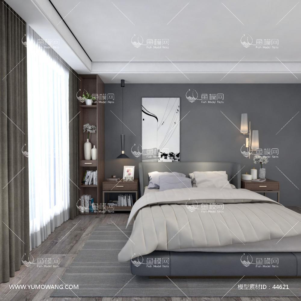 北欧风双人床床头柜及饰品组合3D模型下载-[ID]44621