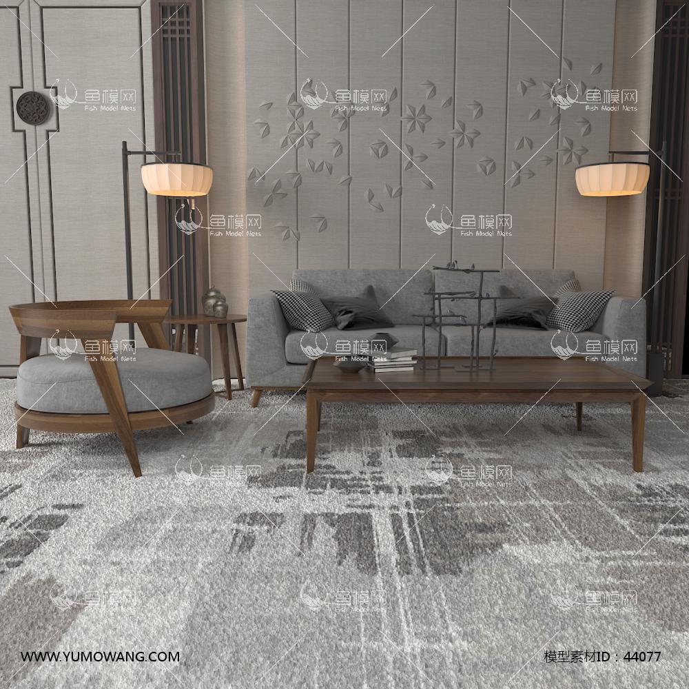 新中式实木沙发3D模型下载-[ID]44077