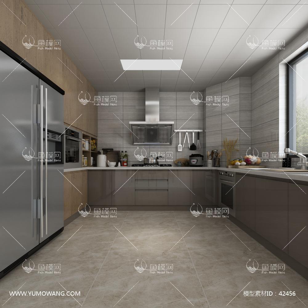 现代厨房橱柜餐具组合3D模型下载-[ID]42456