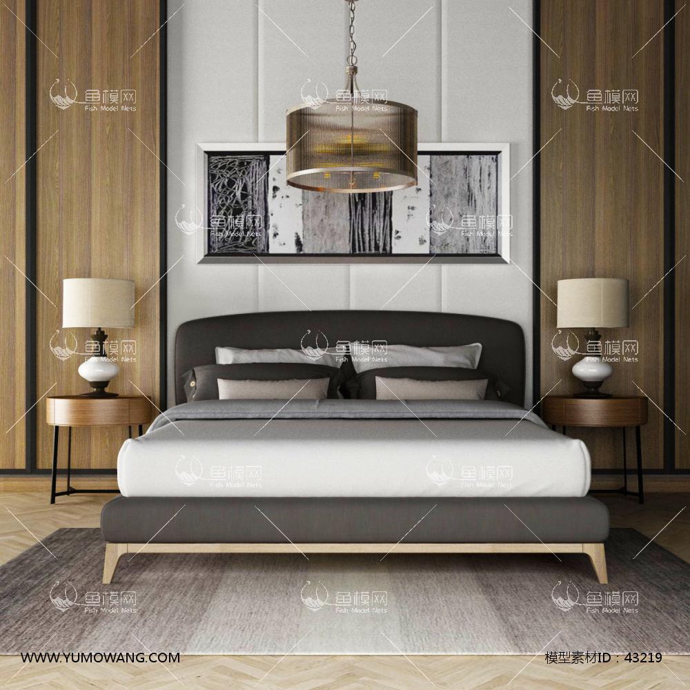 现代双人床床头背景墙组合3D模型下载-[ID]43219