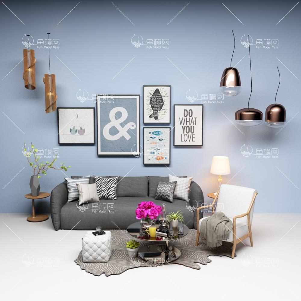 北欧沙发茶几吊灯客厅家具组合3D模型下载-[ID]43069