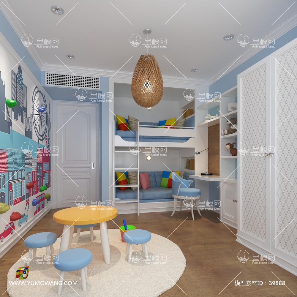 简欧风格儿童房3D模型下载-[ID]39888