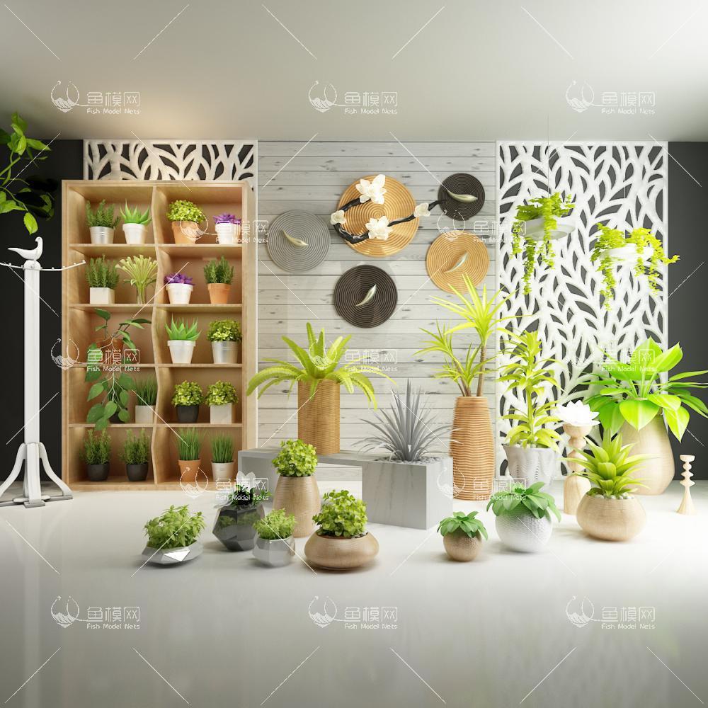 各种花盆植物组合3D模型下载-[ID]27213