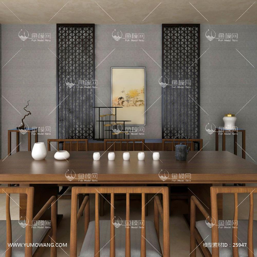 新中式餐桌椅餐边柜组合3D模型下载-[ID]25947