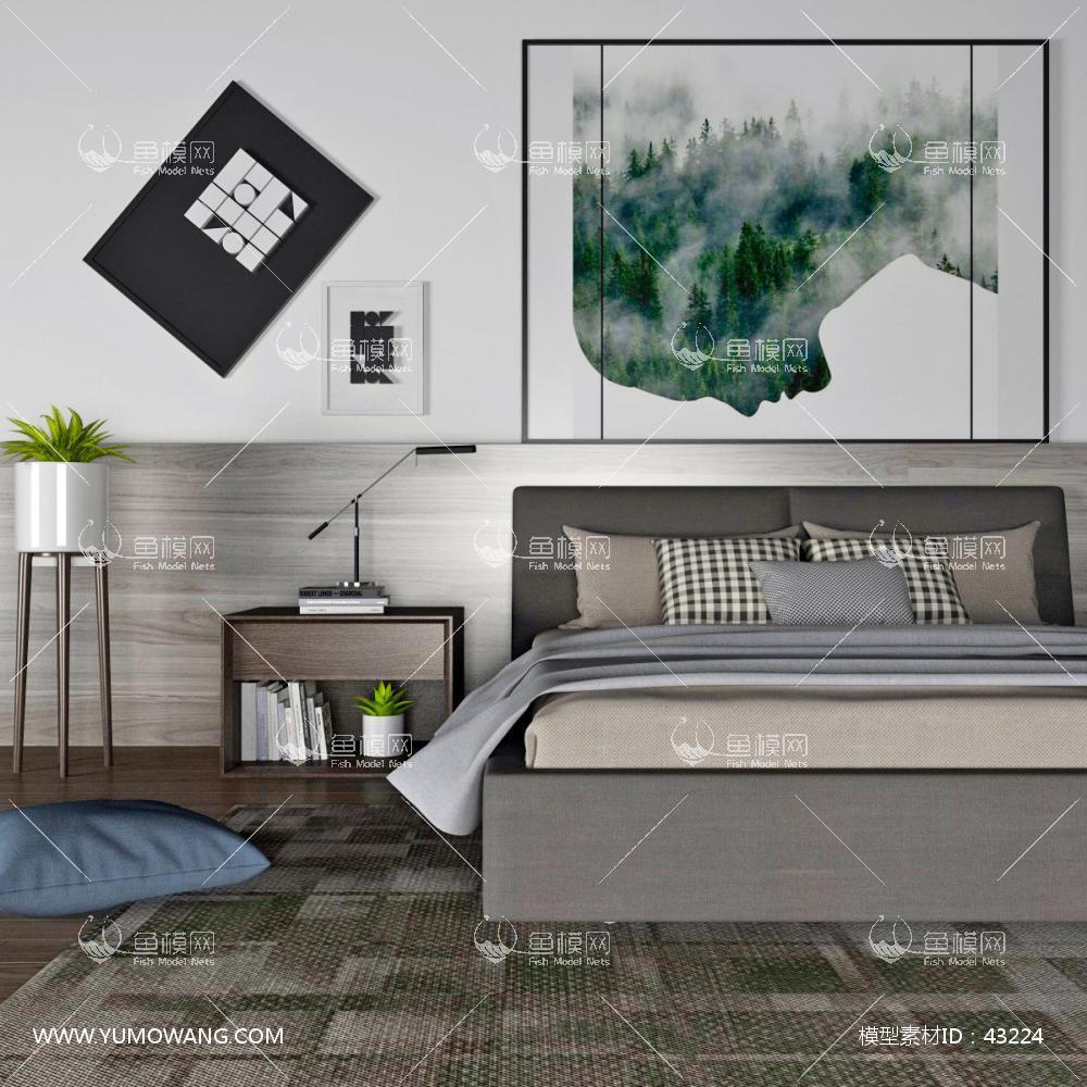 现代卧室双人床床头柜组合3D模型下载-[ID]43224