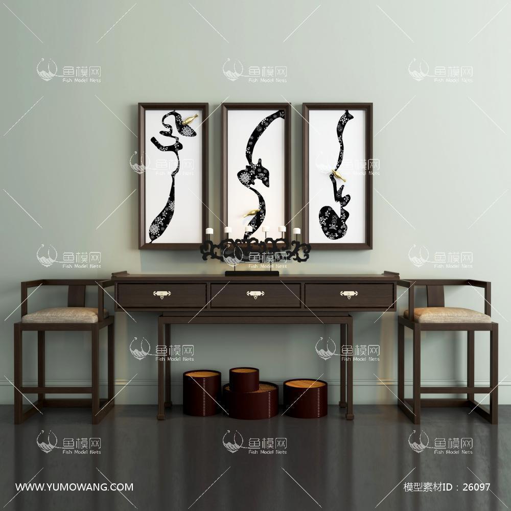 新中式边几单椅挂画组合3d模型