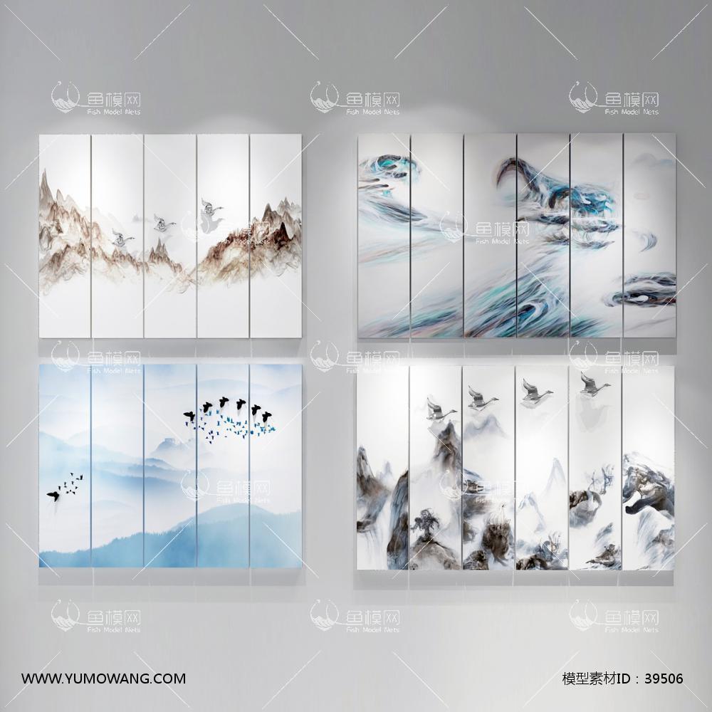 新中式挂画 水墨画3D模型下载-[ID]39506