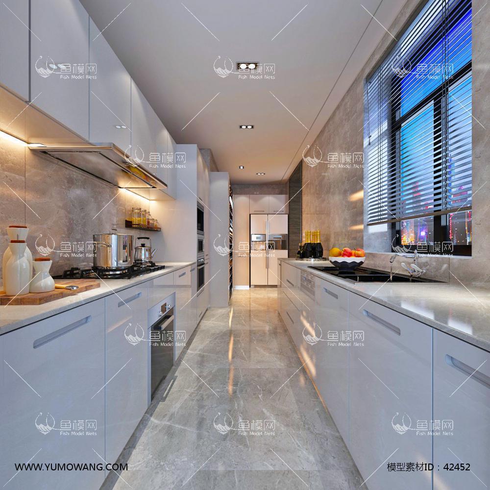 现代厨房橱柜53D模型下载-[ID]42452