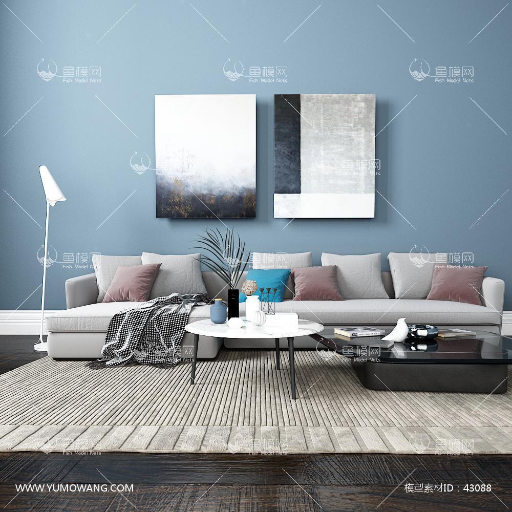 北欧家具类沙发茶几组合3D模型下载-[ID]43088