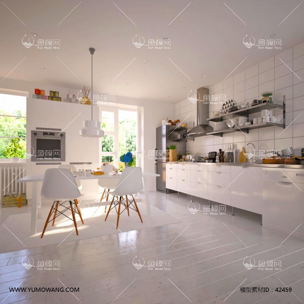 现代厨房橱柜餐桌椅组合3D模型下载-[ID]42459