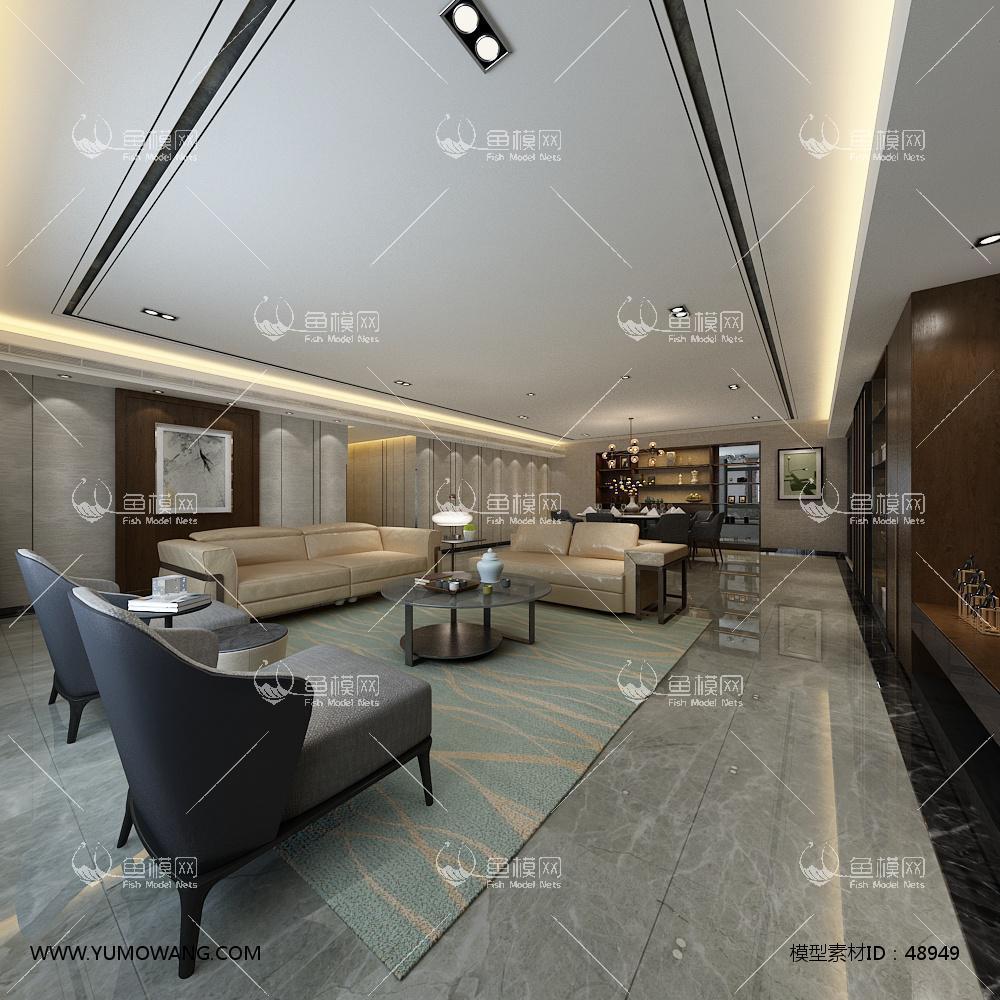 轻奢风格整体家装客厅餐厅3D模型下载-[ID]48949