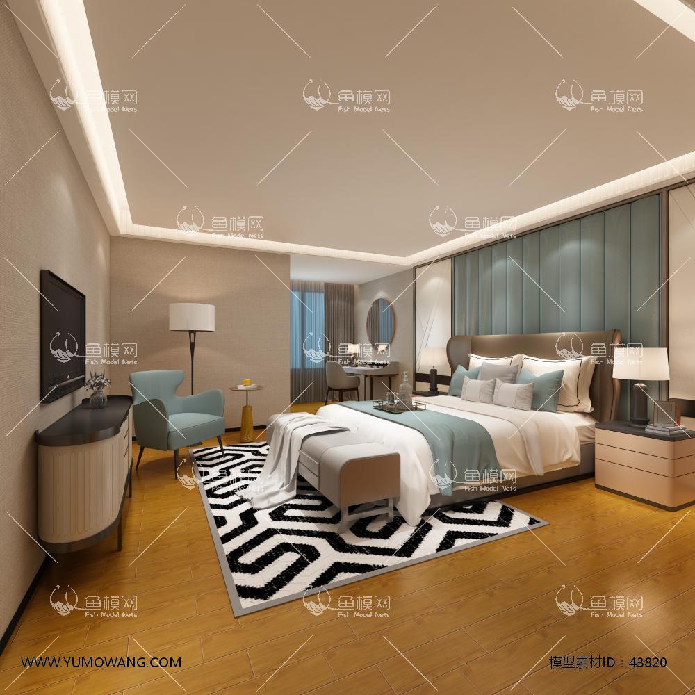 现代整体家装主卧室3D模型下载-[ID]43820