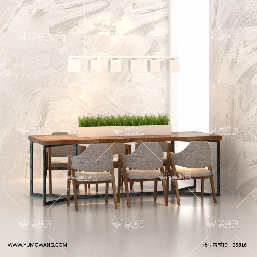 现代工业风餐桌椅3D模型下载-[ID]25816