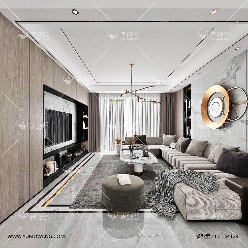 现代客厅餐厅,沙发,餐桌,电视柜3D模型下载-[ID]54123