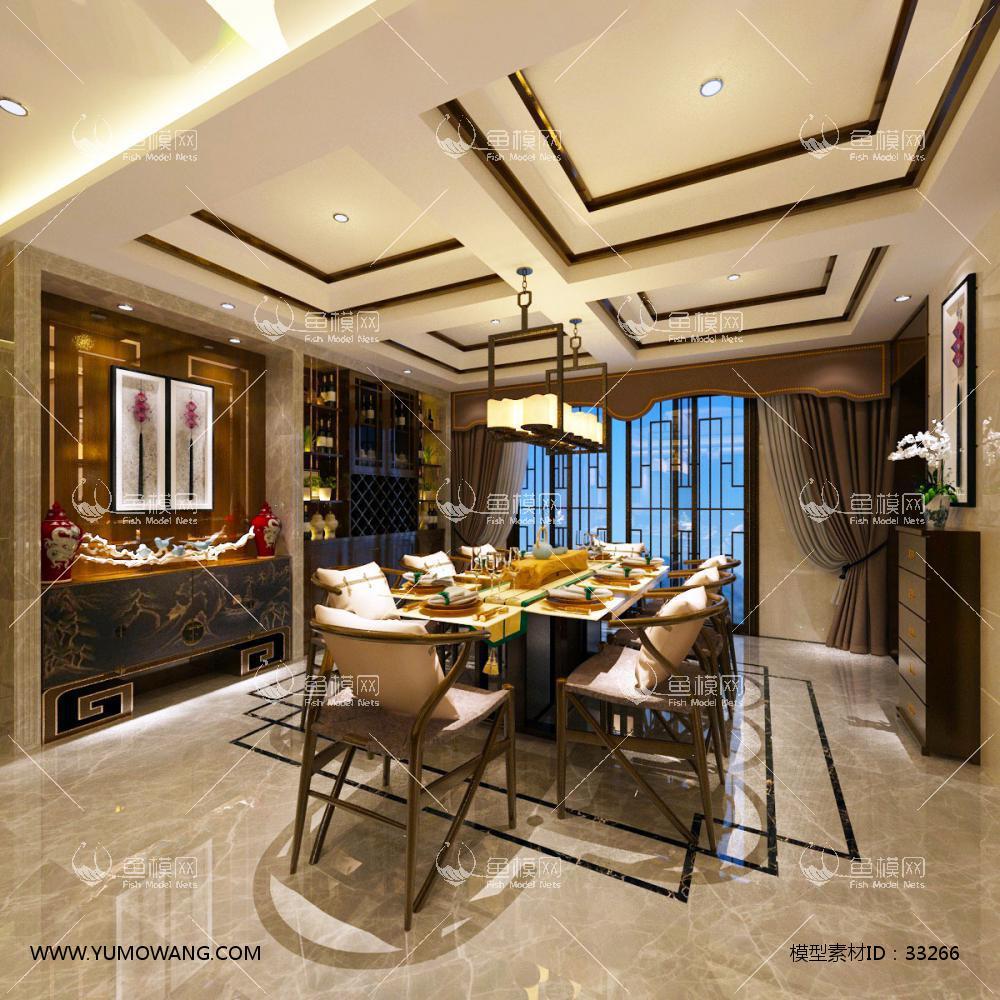 新中式风格餐厅3D模型下载-[ID]33266