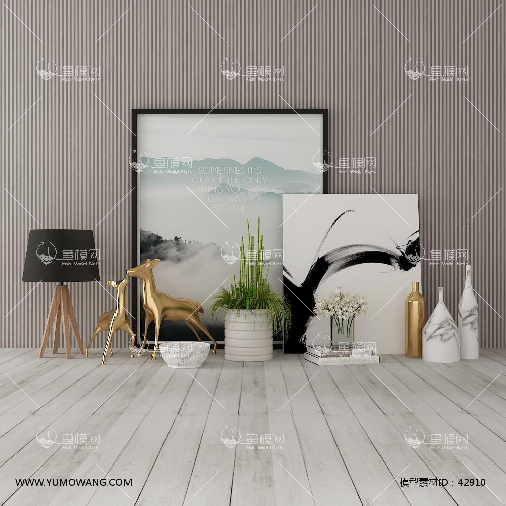北欧花瓶盆栽装饰画饰品摆件组合3D模型下载-[ID]42910