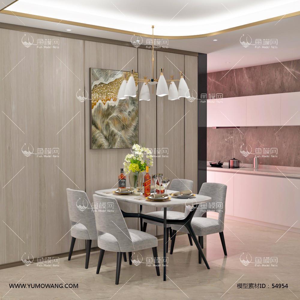 现代整体家装餐厅空间3D模型下载-[ID]54954