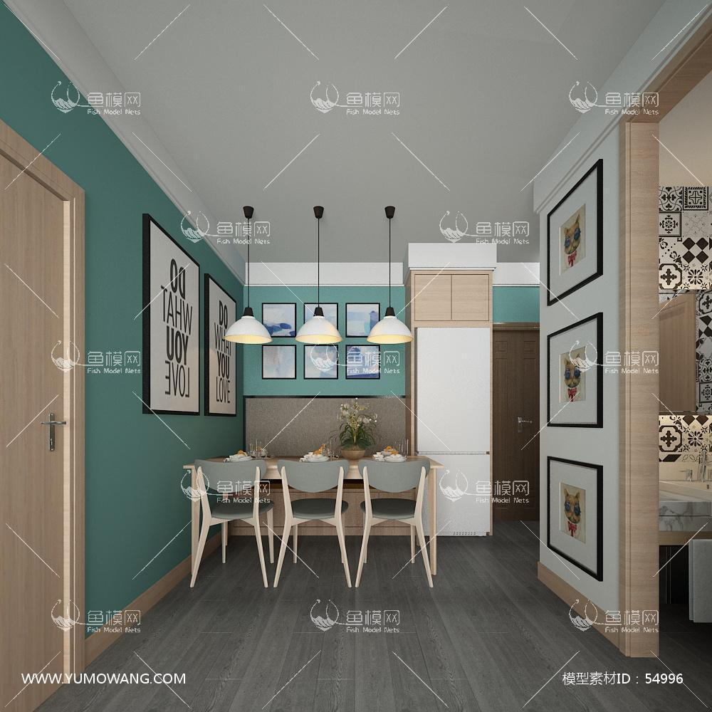北欧整体家装餐厅空间3D模型下载-[ID]54996