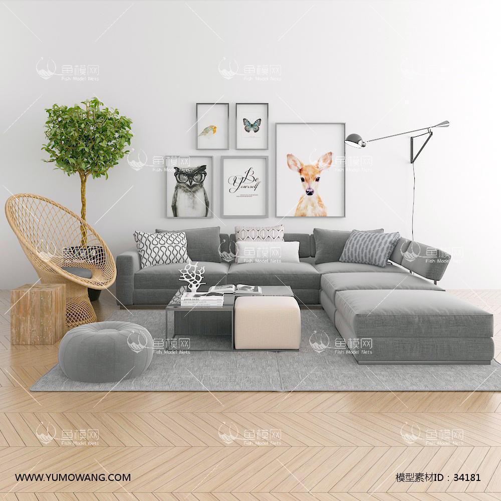 北欧转角沙发茶几挂画单椅组合3D模型下载-[ID]34181