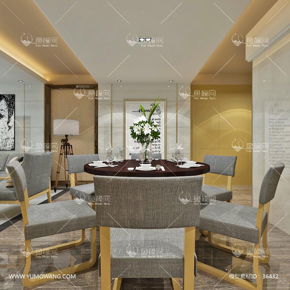 现代简约客厅餐厅吧台3d模型