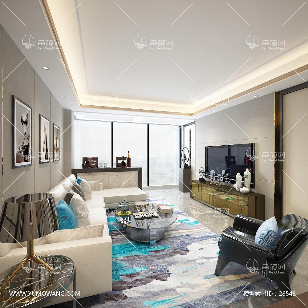 客厅 港式客厅餐厅卧室3D模型下载-[ID]28548