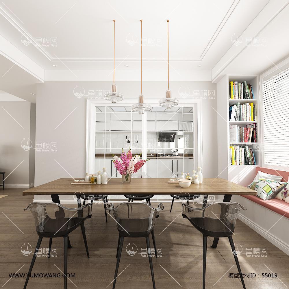 北欧整体家装餐厅空间3D模型下载-[ID]55019
