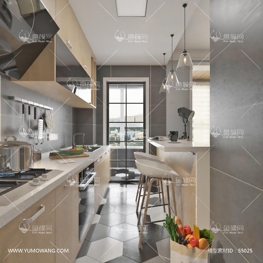 北欧整体家装厨房空间3D模型下载-[ID]55025