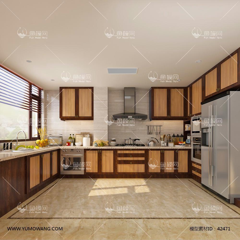 新中式厨房橱柜组合3D模型下载-[ID]42471