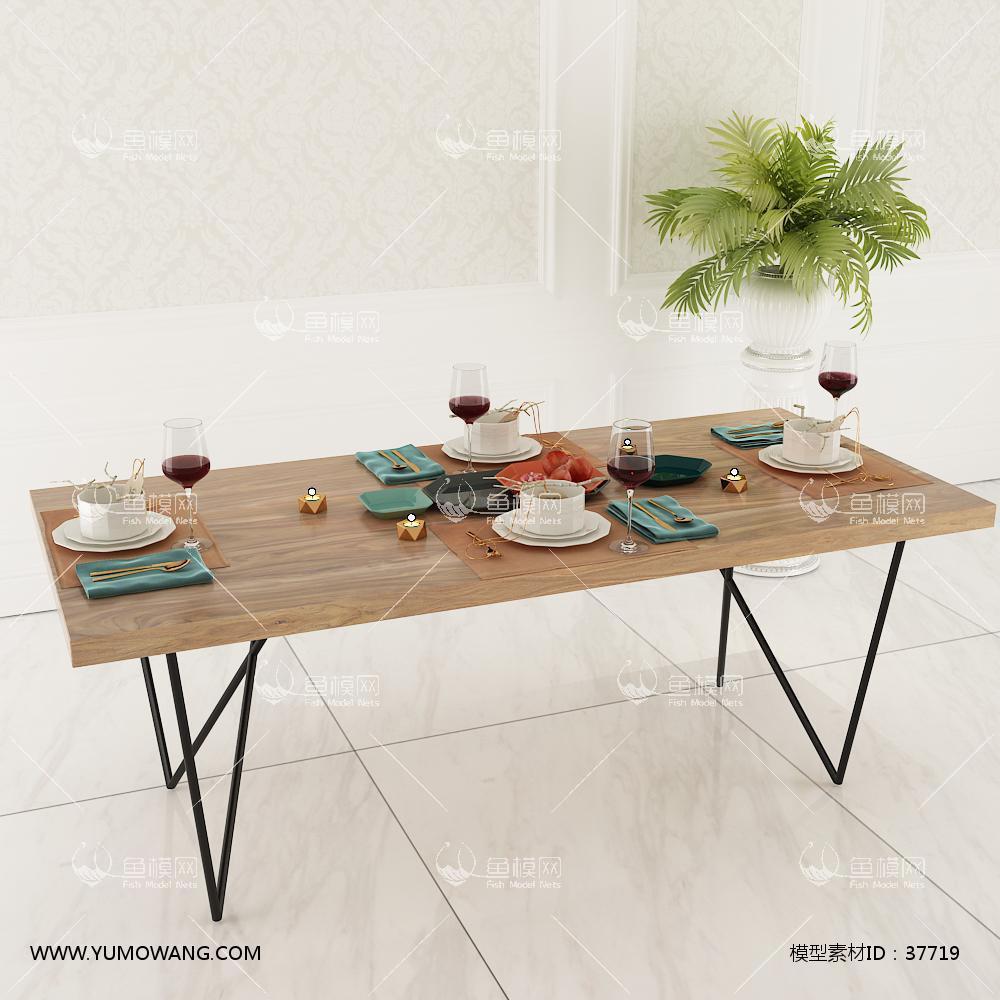 现代餐桌陶瓷餐具组合3D模型下载-[ID]37719