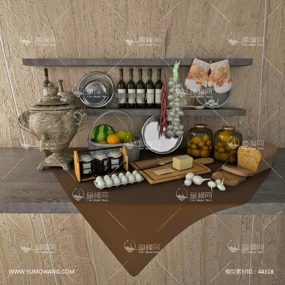 厨房餐具3D模型下载-[ID]44318