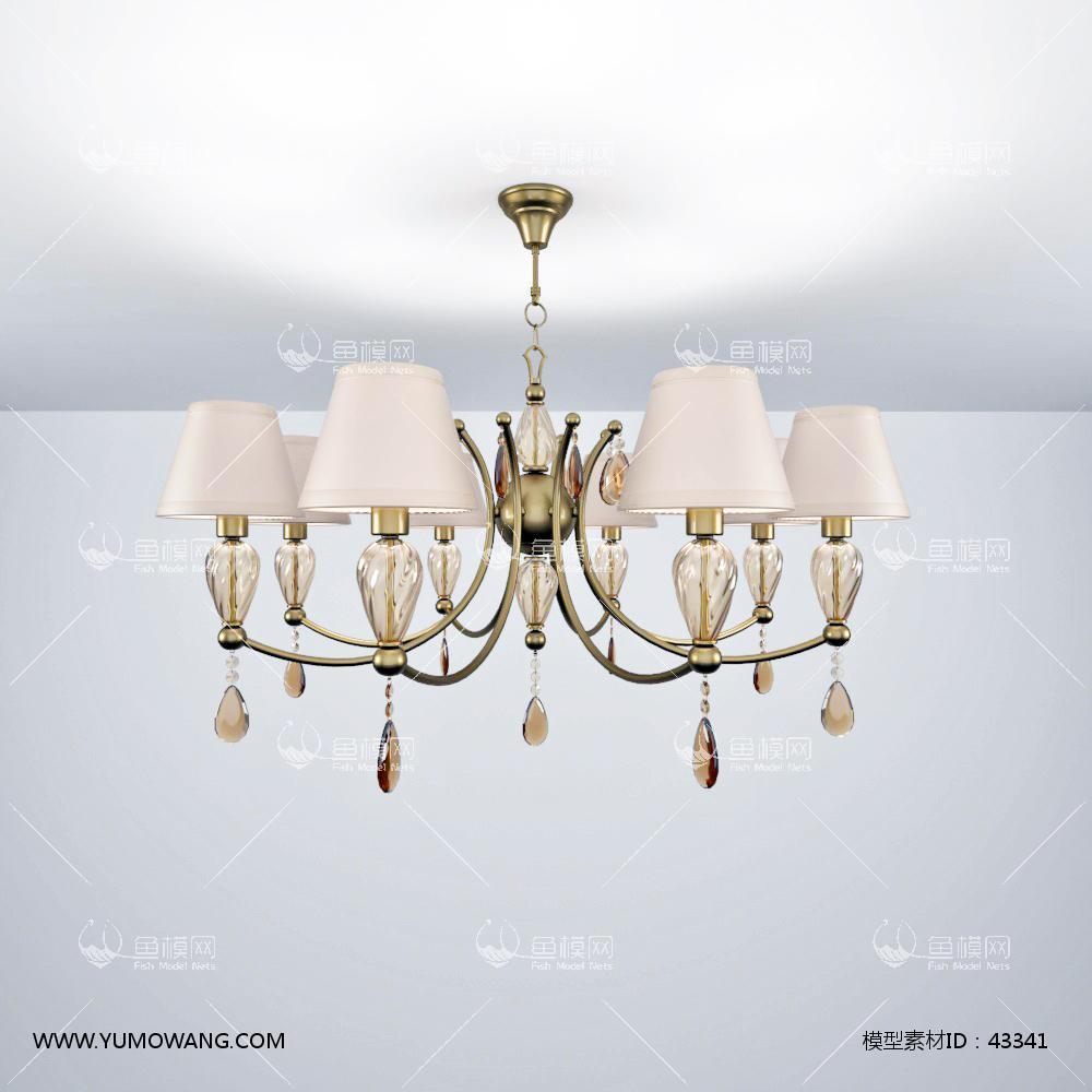 欧式金属水晶吊灯3D模型下载-[ID]43341
